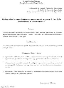 La mozione che scrissi per chiedere la messa in sicurezza di quel tratto di V.le Umberto